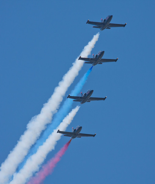 The Patriots flying in formation at the Sacramento Air Show