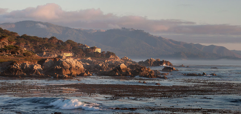 Sunset over Pebble Beach homes.