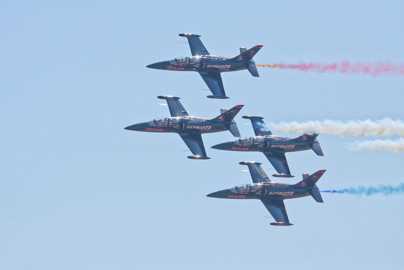 The Patriots flying in formation at the Sacramento Air Show.