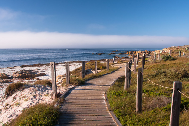 Boardwalk on Spanish Bay.  Pebble Beach 17 mile drive. California
