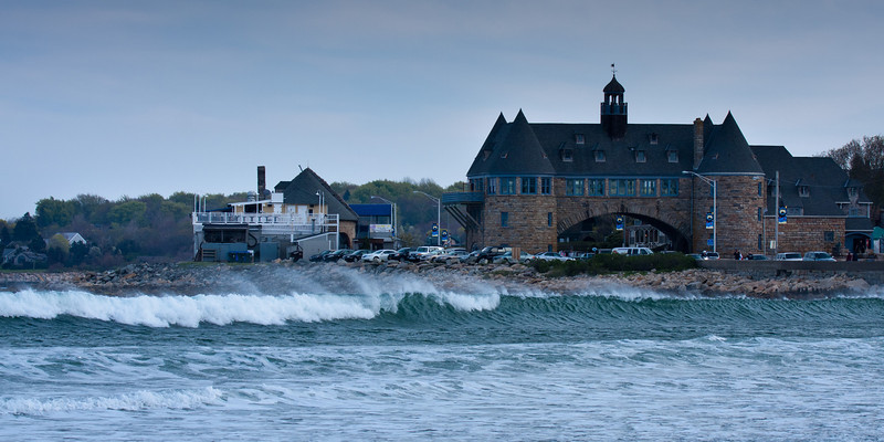 Narragansett Towers as seen from the beach