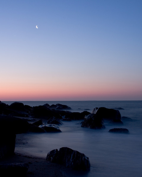 SEA45<br /> Moonset Over Hammonasset