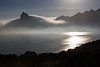 Sentinel draped in cloud, Hout Bay in mist, Burnt Fynbos foreground