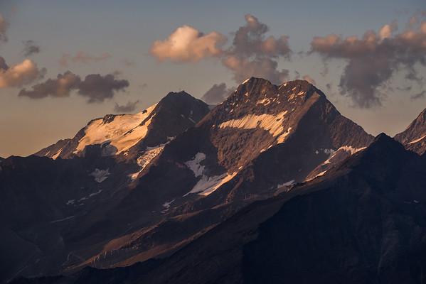 Lagginhorn and Fletschhorn at sunset from the Mischabel Hut, Switzerland