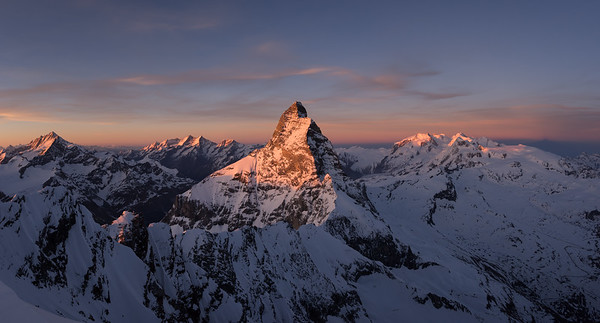 Matterhorn at sunset from Dent d'Hérens
