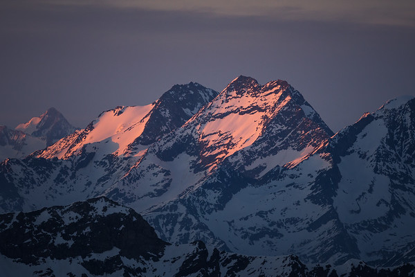 Lagginhorn and Fletschhorn at sunset from the Cresta Signal, Italy