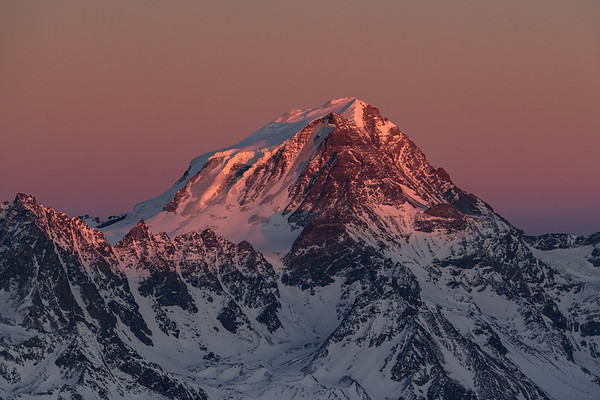 Grand Combin at sunset from Bivouac Dolent