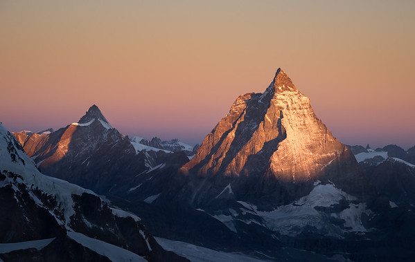 Matterhorn and Dent d'Hérens at sunrise from Monte Rosa, Switzerland