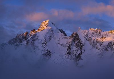 Mont Dolent at sunrise from above Cabane de l'A Neuve, Mont Blanc Massif, Switzerland