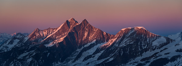 Dom, Taschhorn and Alphubel at sunset from the Breithorn, Zermatt, Switzerland