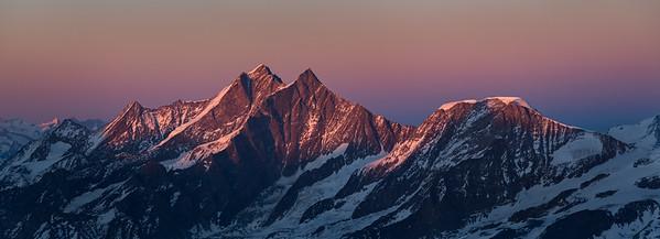 Dom, Taschhorn and Alphubel at sunset from the Breithorn, Zermatt, Switzerland
