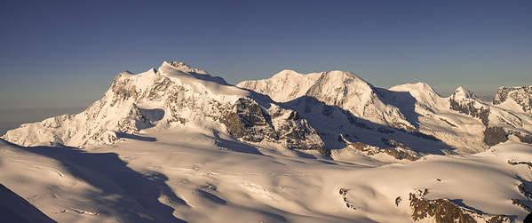 Monte Rosa, Nordend and Lyskamm in the morning, Zermatt