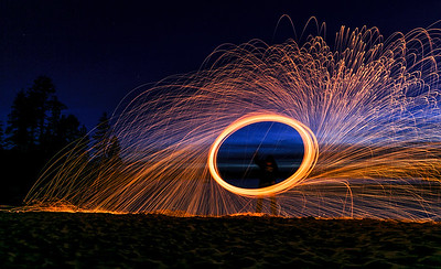 Spinning fire at Sand Harbor