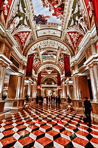 Probably one of my favorite locations and hotels on the strip is the Venetian. The impressive marble columns and artwork are so incredible that you get the feeling that artisans labored years to create such a masterpiece.