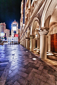Gothic architecture is evident throughout the Venetian property. The photography at night is especially stunning with all the colored lights.