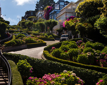 This picturesque stretch of Lombard Street has eight tight turns along a single block. They twist at very acute angles, making for very slow going if you are in a car. Although, oddly enough, cars were the reason for designing the street this way back in 1922, the idea being that this design would make it easier for them to negotiate the steep 16-percent grade.