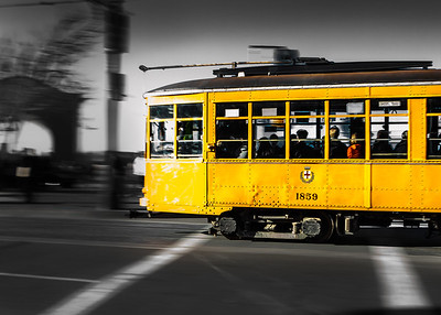 The 1920 Italian street cars that run along the F line near the waterfront and Pier 39.