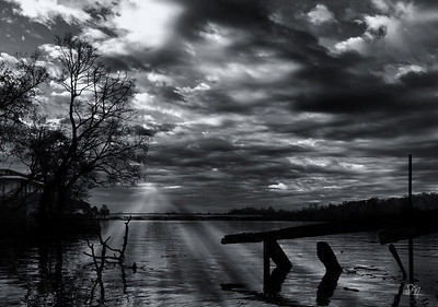 Black and White photo of the Potomac River at Sunrise