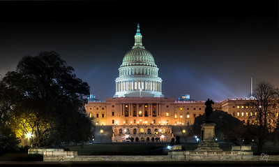 The United States Capitol is the meeting place of the U.S. Congress, the legislature of the U.S. federal government. Located in Washington, D.C., it sits atop Capitol Hill at the eastern end of the National Mall