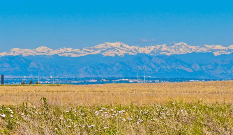 Rocky Mountains behind Denver CO.