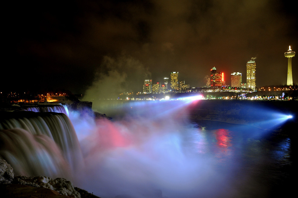 Niagara Falls at night - Shot from the U.S. side
