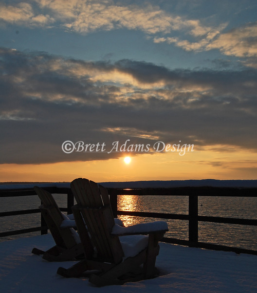 Owasco Yacht Club Winter Sun Set - Owasco Lake, Auburn NY
