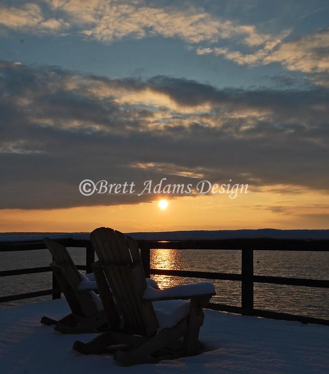 Owasco Yacht Club Winter Sun Set - Owasco Lake, Auburn NY
