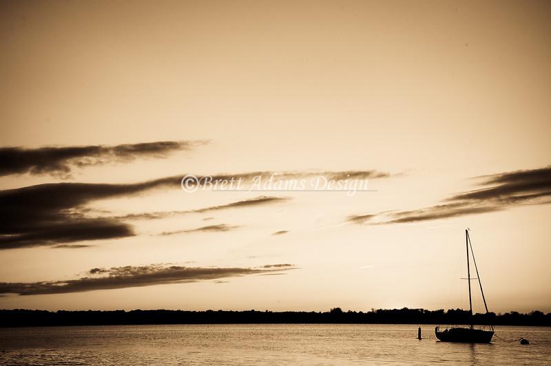 Sail Boat Silhouette - Owasco Lake, Auburn NY