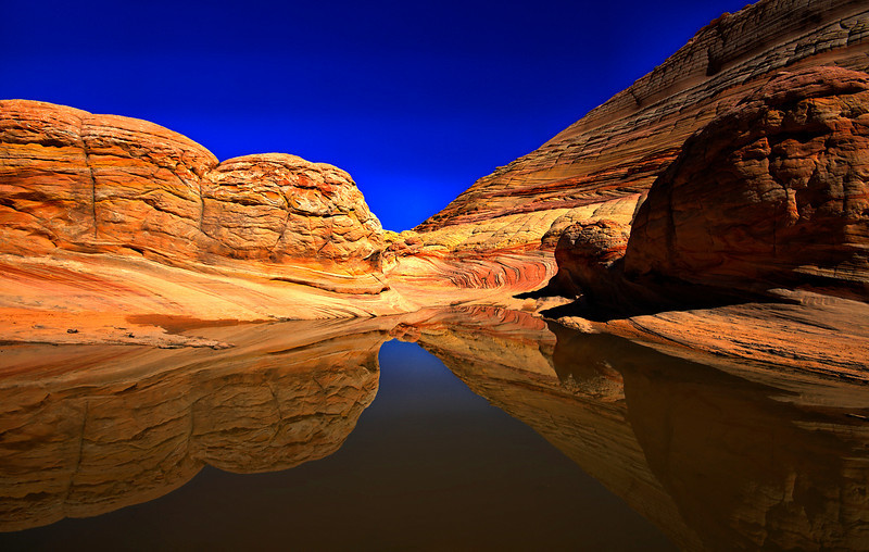 Frog Pond Reflection - above The Wave, Coyote Buttes, AZ.
