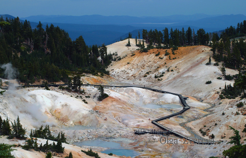 <p>Hydrothermal Area at Lassen Volcanic National Park, California, USA</p> <p>Explosive eruption at Lassen Peak (May 22, 1915) was the most powerful in a 1914-17 series of eruptions that were the most recent to occur in the Cascade Range prior to the 1980 eruption of Mt St Helens. Boiling mud pots, steaming ground, roaring fumaroles, and sulfurous gases are all reminders of the ongoing potential for eruptions in the Lassen area.</p>