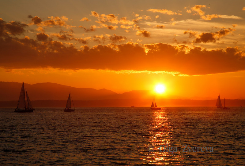 <p>Sailing under sunset at Puget Sound, Washington, USA<p>