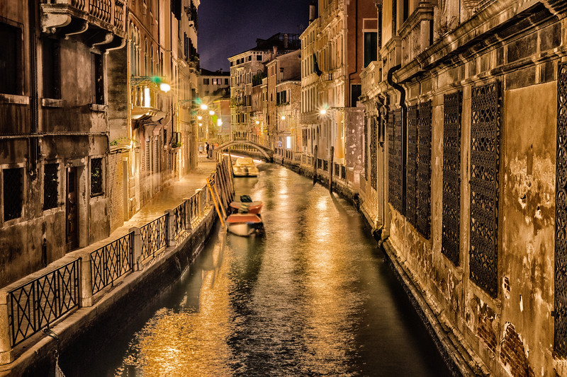 Night Canal Scene