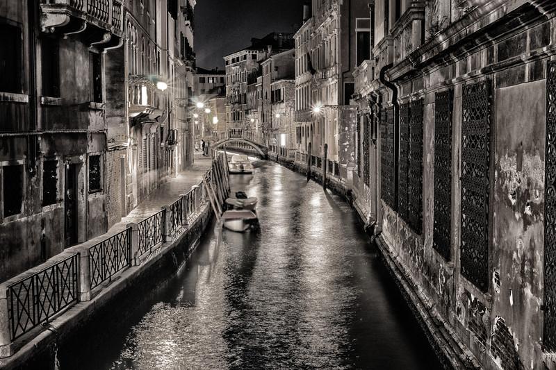 Night Canal Scene - B&W