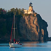 Split Rock Light with Sailboat, Two Harbors, Minnesota