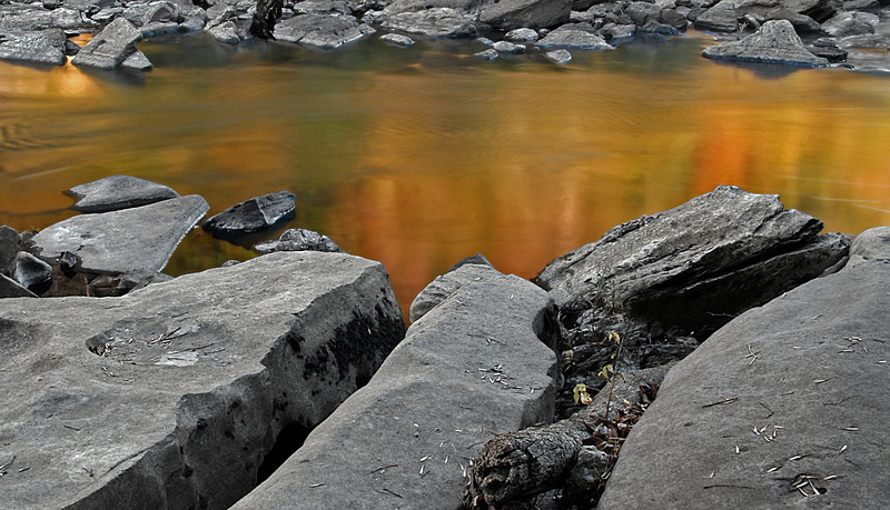 Golden River Reflections at Rock Island State Park