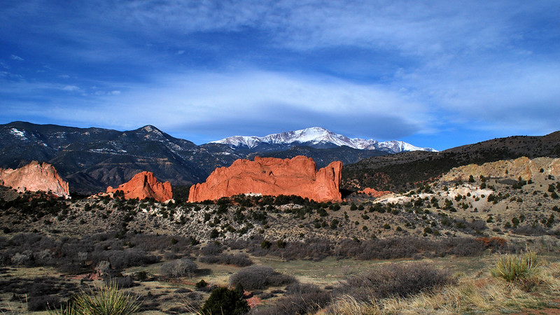Snowy Pikes Peak over Garden of the Gods