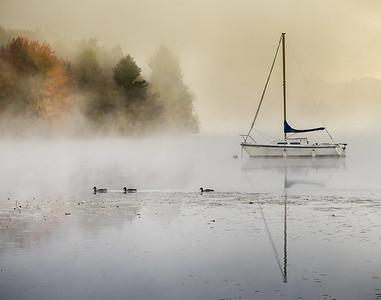 Bantam Marina on a misty autumn morning.