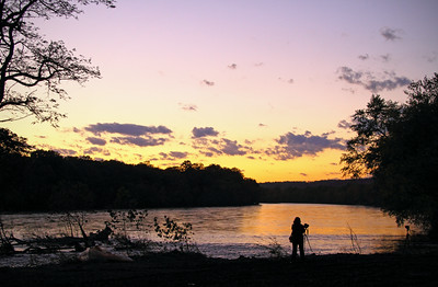 Sunset with photographer and tripod, New Jersey