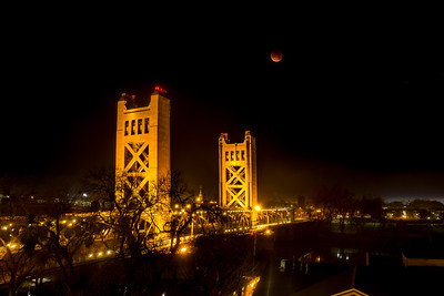 Eclipse over Sacramento's over Bridge