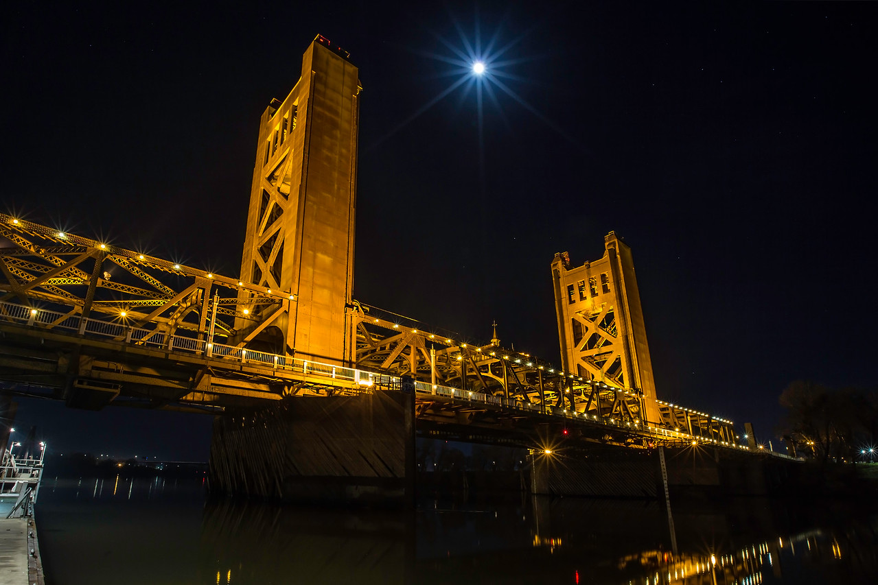 Super Moon over Sacramento's Tower Bridge