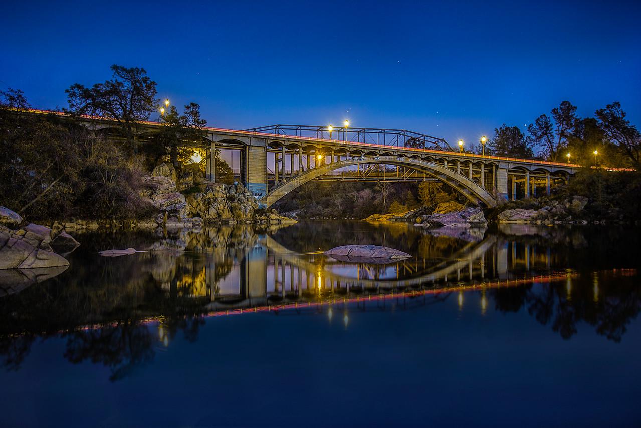 Rainbow Bridge, crossing the American River near Folsom Prison, outside of Sacramento, CA.