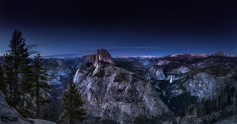 The Blue Hour slowly unfolds over Yosemite's Glacier Point.  Available as either a 12x24 or 24x48 piece in Metal or Paper! Contact me for Custom work...