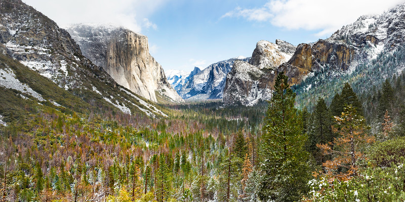 "Arguably, the most popular photo location in the world - Tunnel View in Yosemite Valley.  This piece is designed to be printed as either a 15""x30"" or 30""x60"" on metal to bring out the intense vibrancy and detail.  Finished with a french cleat on the back to make hanging a breeze, all pieces are  available via special order and require contacting me first.  Other finishes available through the ""Buy"" button include paper, canvas and metal prints…"