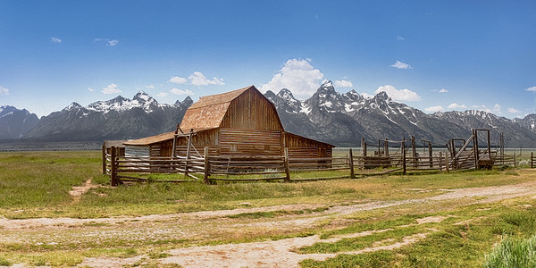 The second of two barns built in the early 1900's by Thomas Moulton in what is now Grand Teton Nat'l Park in Wyoming.  This piece is a photo but completed in an oil-painting finish.