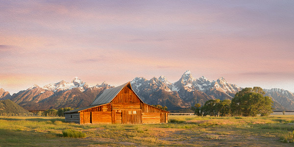 The first of two barns built by Tom Moulton, a Mormon settler in the 1900's.  Originally a box with a flat roof, it was added on to several times until the 1940s.  The barn is located within the Grand Teton Nat'l Park system and stands with several other structures including a second barn Moulton also constructed.