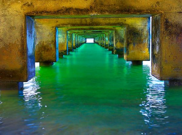 Under the Hanalei Pier...