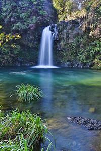 A beautiful pool and waterfall along the Road to Hana