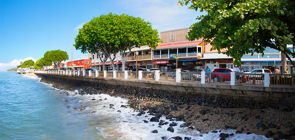 A panorama of the shoreline of Lahaina