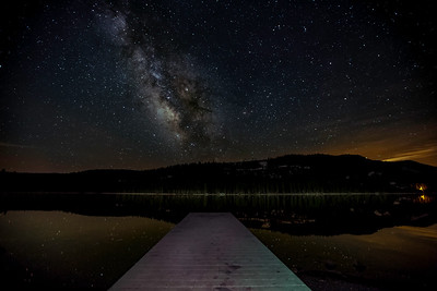 "The Milky Way over a quiet Donner Lake pier...  (artwork size recommended to 12"" x 20"")"