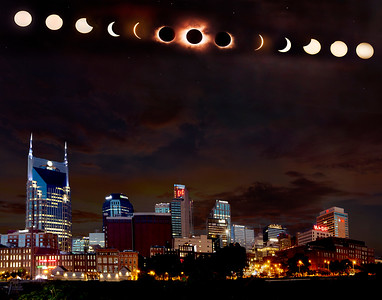 This option is 11x14 ONLY - see additional files for other options.   The Great American Eclipse was seen in totality in Nashville on August 21st, 2017.  This is a composite of the 2-hr event...